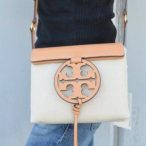 NWT Tory Burch MILLER Canvas Leather Crossbody Bag